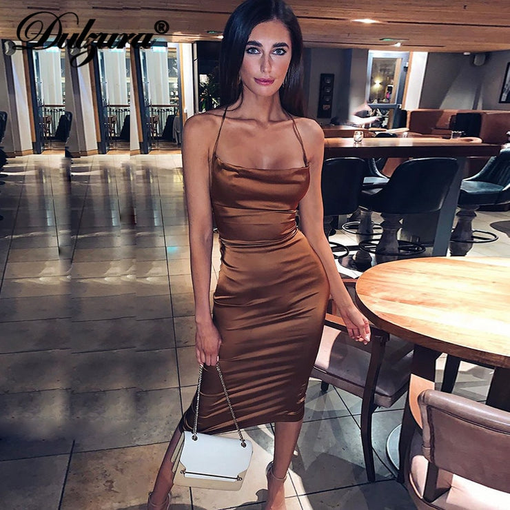 Satin lace up bodycon long midi dress