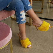 Candy Color Luxury  Fur High Heel Sandals Slippers