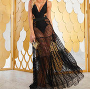 Women Mesh Sheer Maxi Skirt