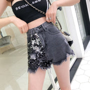 Denim Sequin Shorts