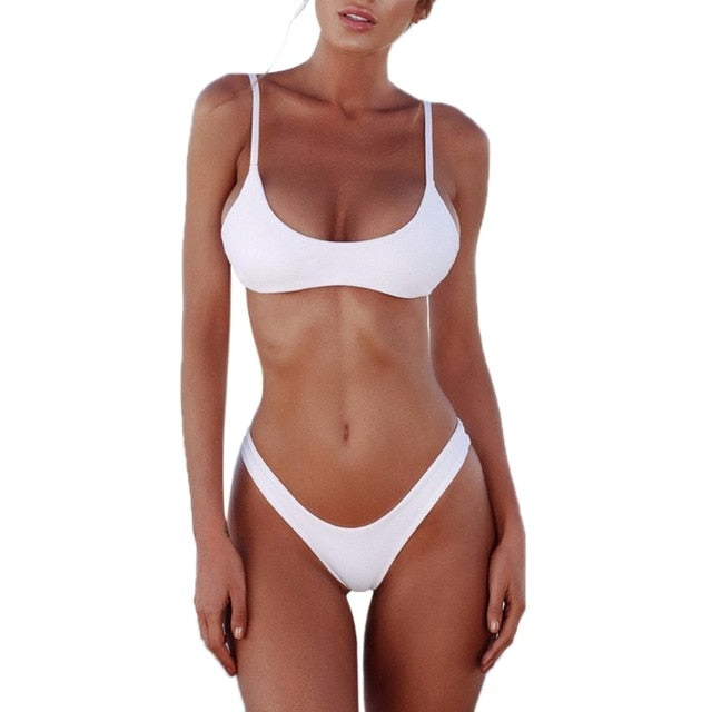 Summer Holiday Brazilian Bikini Set Sexy Push Up Unpadded Women Vintage Swimwear Swimsuit Beach Suit bathing suits