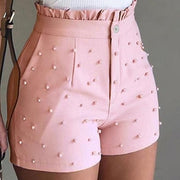 Fashion pearls women shorts Ruffles high waist button zipper female pink shorts Spring summer casual ladies bottoms 2020