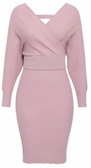 Sexy v-neck women knitted skirt suits