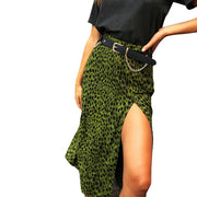 High Waist Shift Divide Midi Women's Leopard Green