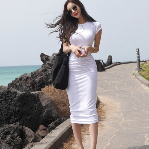 Boho tight bodycon T-shirt girls sexy white dress summer Women Dresses