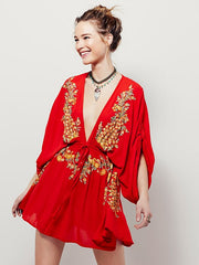 Bating sleeve Embroidery Mini Dress Casual Hippie Boho rompers