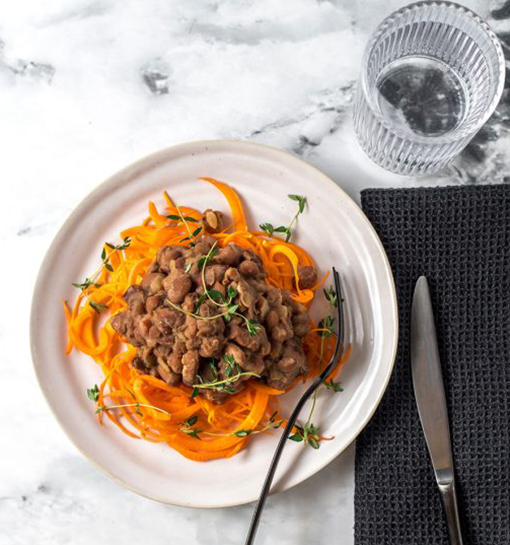 Cowboy Beans, Bacon & Carrot Zoodles