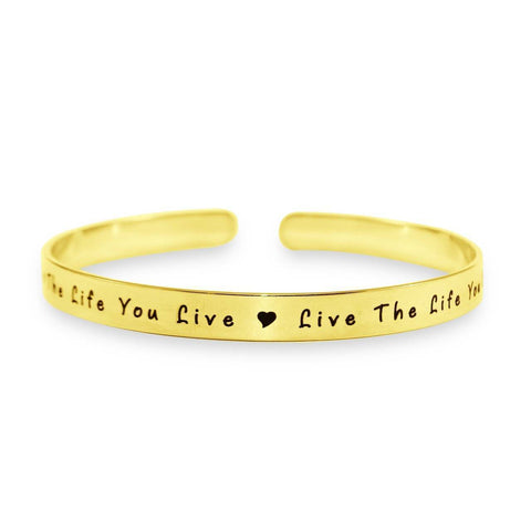 8mm Open Cuff Endless Bangle Gold Personalized Belle Fever 3