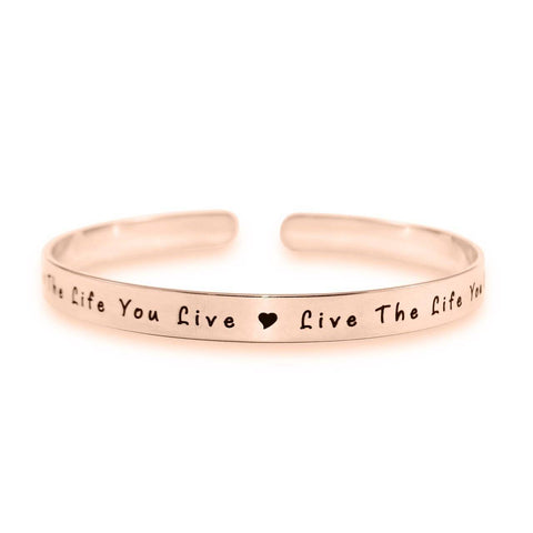 8mm Open Cuff Endless Bangle Rose Gold Personalized Belle Fever 4
