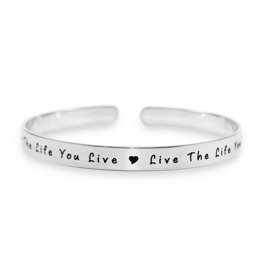 8mm Open Cuff Endless Bangle Silver Personalized Belle Fever 2