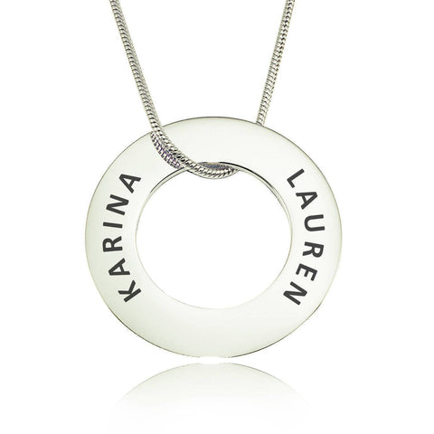 Always Forever Washer Necklace Silver Personalized Belle Fever 2