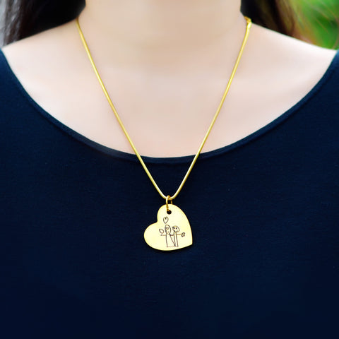 Custom Kids Drawing Heart Necklace Personalized Belle Fever 5
