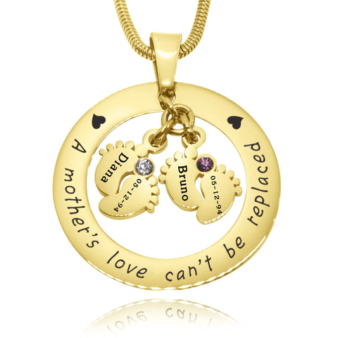 Cant Be Replaced Birthstones Necklace - Double Feet 12mm Gold Belle Fever