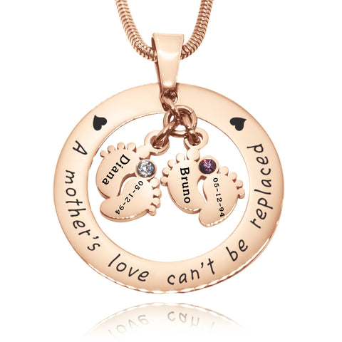 Cant Be Replaced Birthstones Necklace - Double Feet 12mm Rose Gold Belle Fever