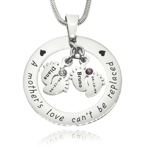Cant Be Replaced Birthstones Necklace - Double Feet 12mm Silver Belle Fever