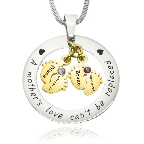 Cant Be Replaced Birthstones Necklace - Double Feet 12mm Two Tone Gold Belle Fever