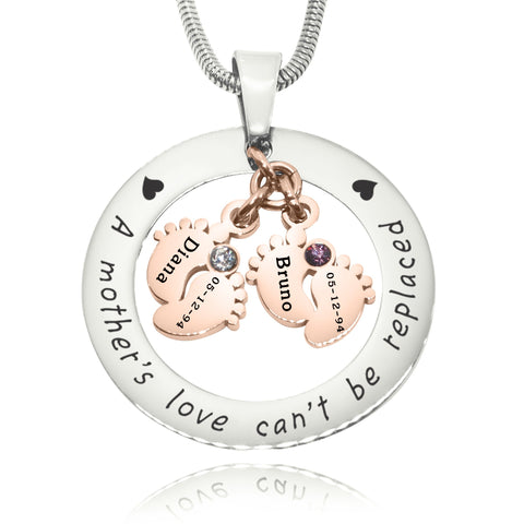 Cant Be Replaced Birthstones Necklace - Double Feet 12mm Two Tone Rose Gold Belle Fever