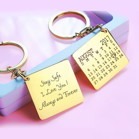 Calendar Handwriting Keyring