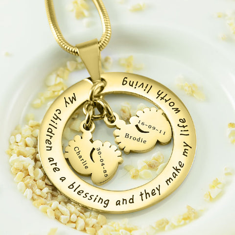 Cant Be Replaced Necklace Double Feet 12mm Gold Personalized Belle Fever 1