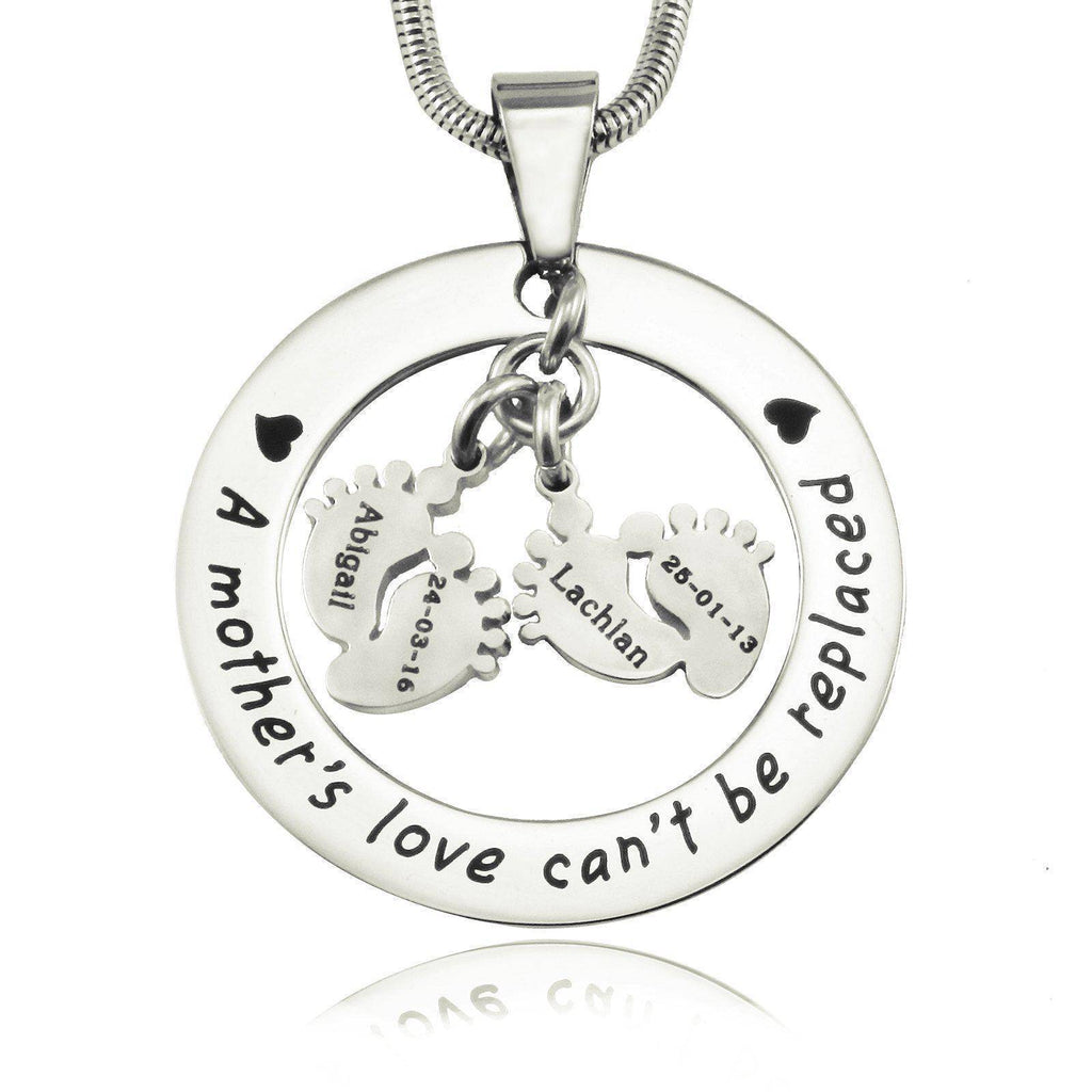 Cant Be Replaced Necklace Double Feet 12mm Silver Personalized Belle Fever 2