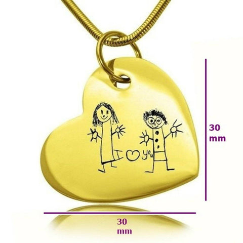 Custom Kids Drawing Heart Necklace Personalized Belle Fever 6