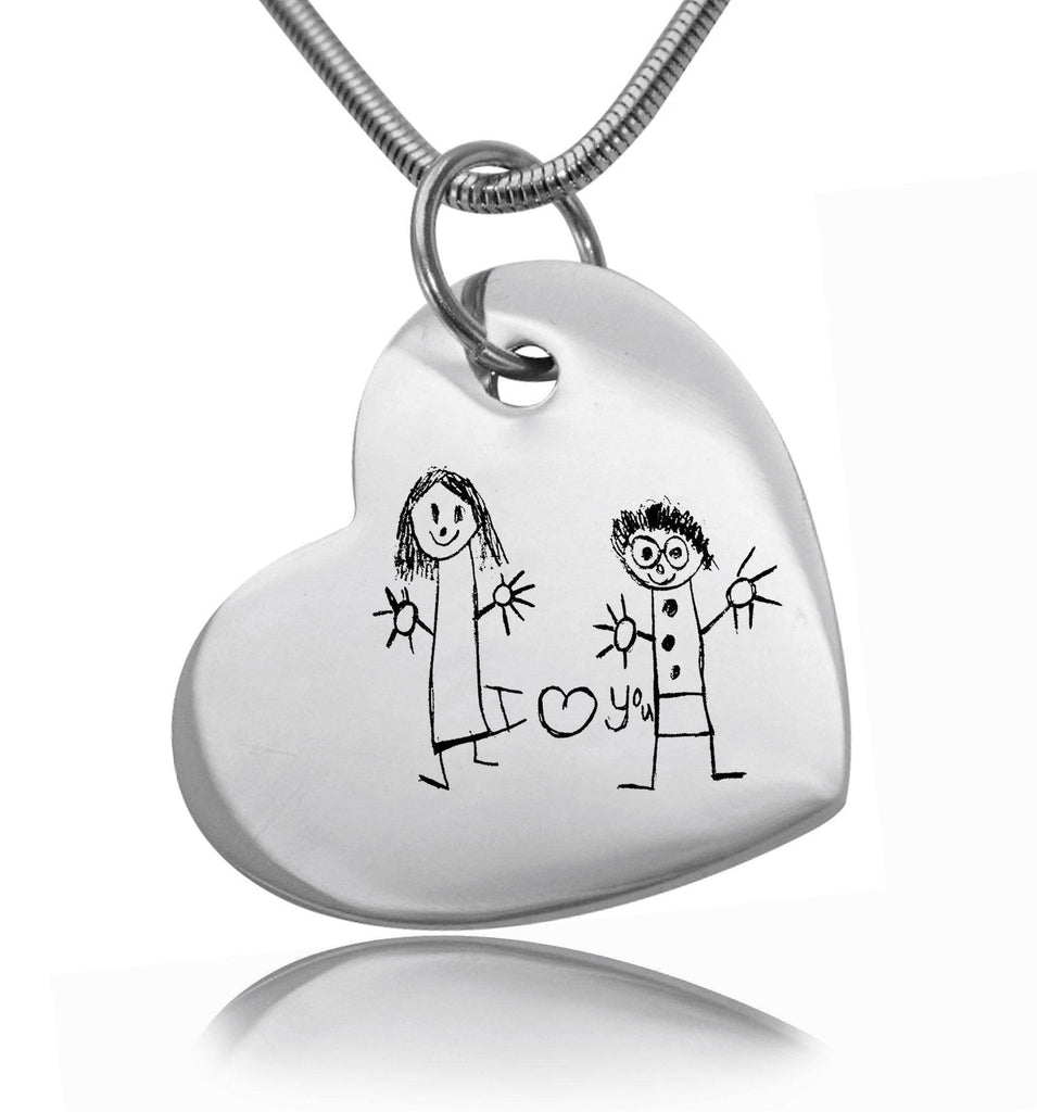 Custom Kids Drawing Heart Necklace Personalized Belle Fever 2