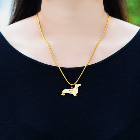 Dachshund Dog Necklace Gold Personalized Belle Fever 5