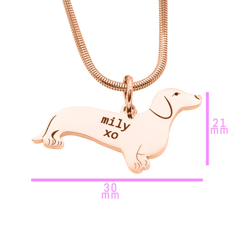 Dachshund Dog Necklace Gold Personalized Belle Fever 6