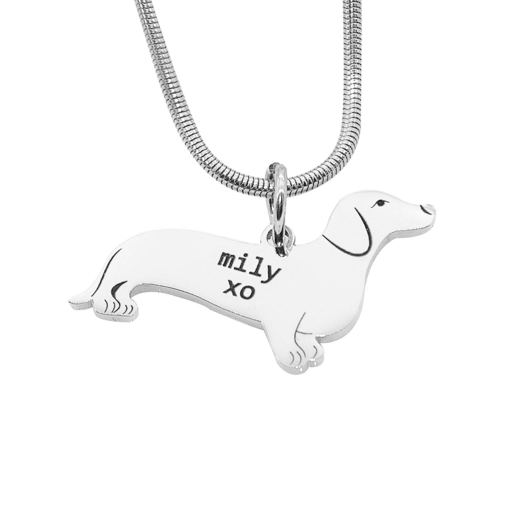 Dachshund Dog Necklace Silver Personalized Belle Fever 1