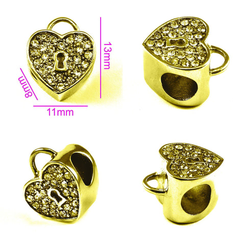Diamond Heart Charm For Moments Bracelet Gold Belle Fever 3
