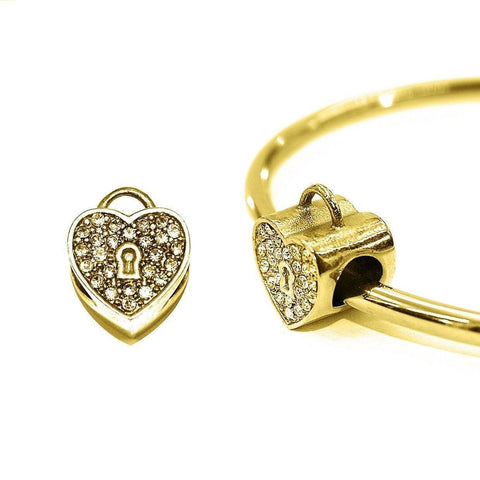 Diamond Heart Charm For Moments Bracelet Gold Belle Fever 1