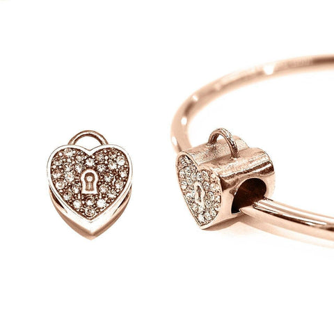Diamond Heart Charm For Moments Bracelet Rose Gold Belle Fever 1