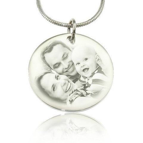 Disc Photo Necklace - Silver Personalized Belle Fever 1