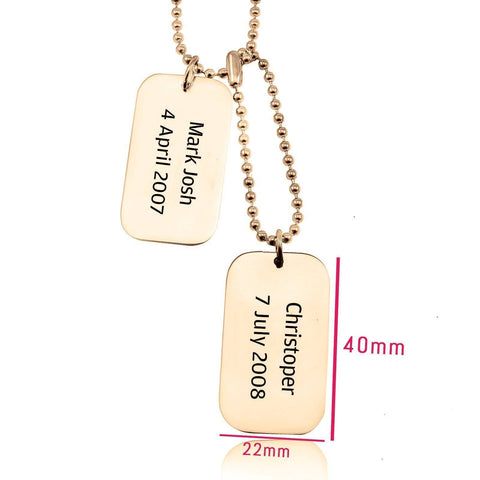 Dog Tag Necklace DOUBLE Personalized Belle Fever 6