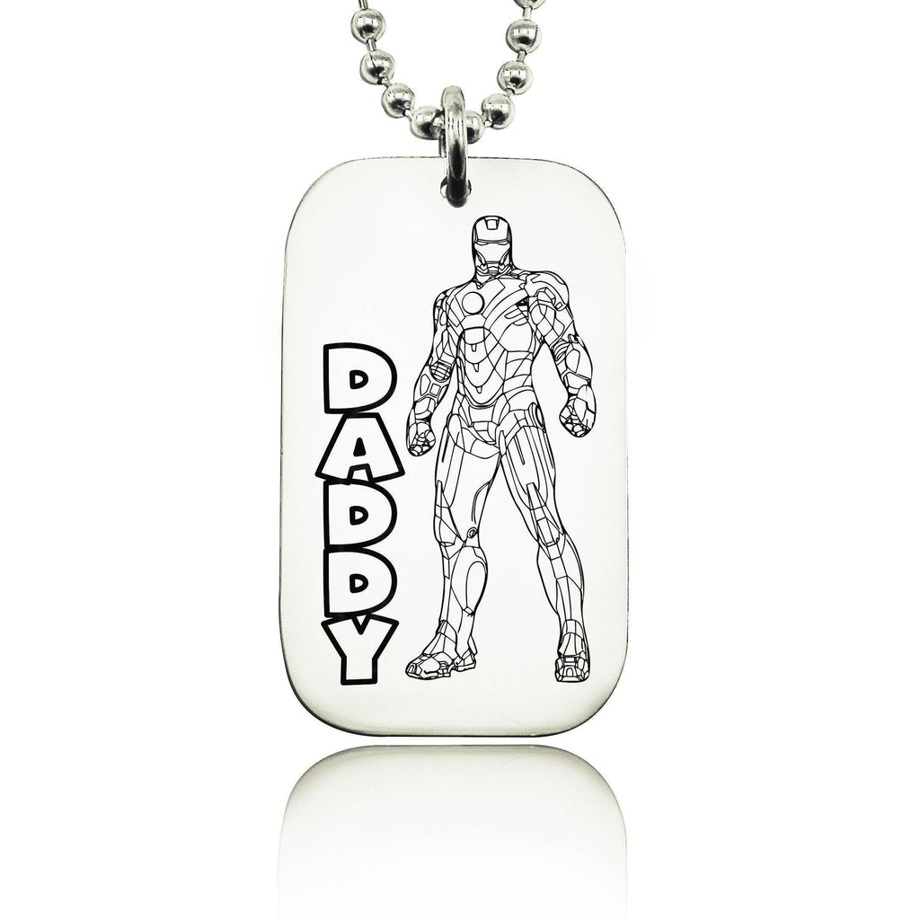 Iron Man DADDY Necklace Silver Personalized Belle Fever 1