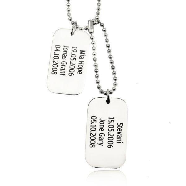 Dog Tag Necklace DOUBLE Personalized Belle Fever 2