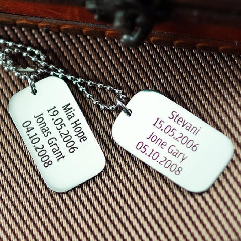 Dog Tag Necklace DOUBLE Personalized Belle Fever 1