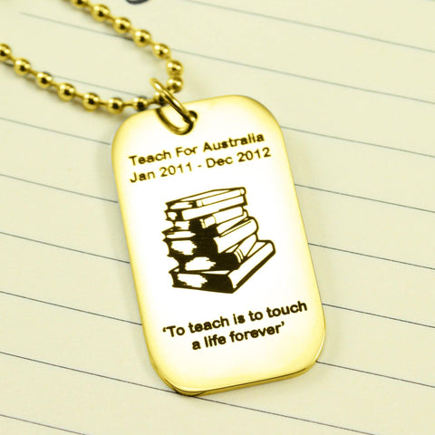Dog Tag Necklace Teacher TEXT with SYMBOL Gold Personalized Belle Fever 1