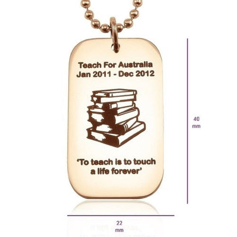 Dog Tag Necklace Teacher TEXT with SYMBOL Rose Gold Personalized Belle Fever 1