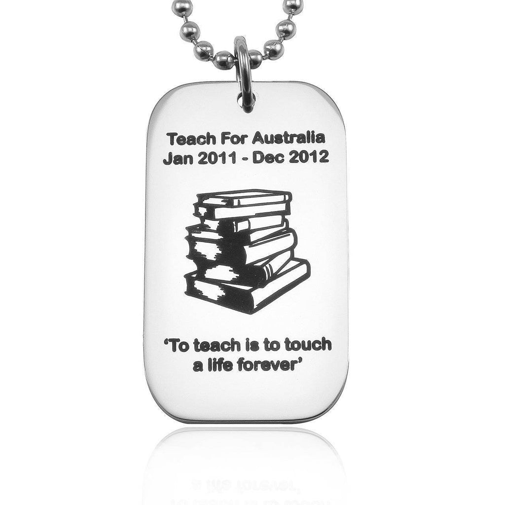 Dog Tag Necklace Teacher TEXT with SYMBOL Silver Personalized Belle Fever 1