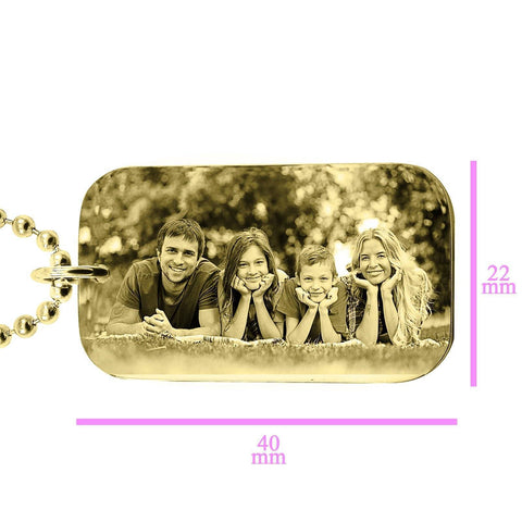 Custom Photo Dog Tag Necklace - Gold Personalized Belle Fever 1