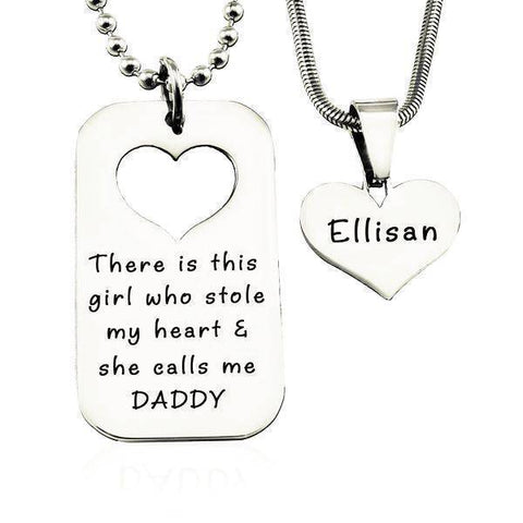 Dog Tag Stolen Heart - Two Necklaces Silver Personalized Belle Fever 2