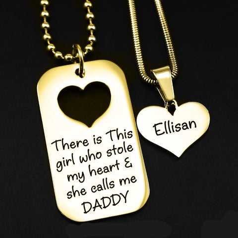 Dog Tag Stolen Heart - Two Necklaces Gold Personalized Belle Fever 1