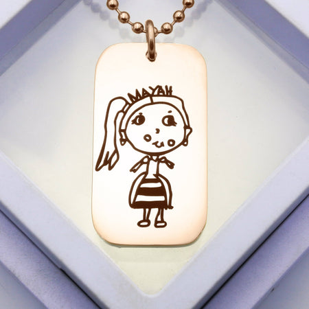Custom Kids Drawing Dog Tag Necklace - Rose Gold Personalized Belle Fever 1