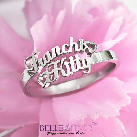 Double Name Personalized Ring (Birthstones Optional)