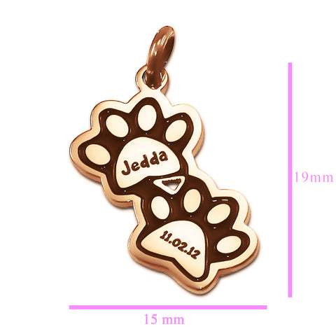 Double Mini Paw Prints Charm for Keyring