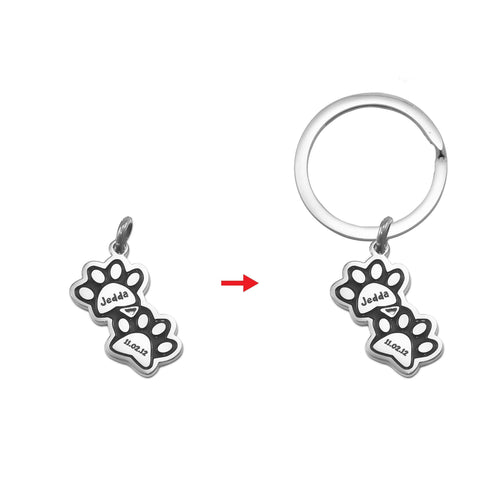 Double Paw Prints Charm for Keyrings - Silver Personalized Belle Fever 6