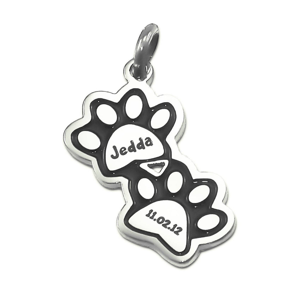 Double Paw Prints Charm for Keyrings - Silver Personalized Belle Fever 2