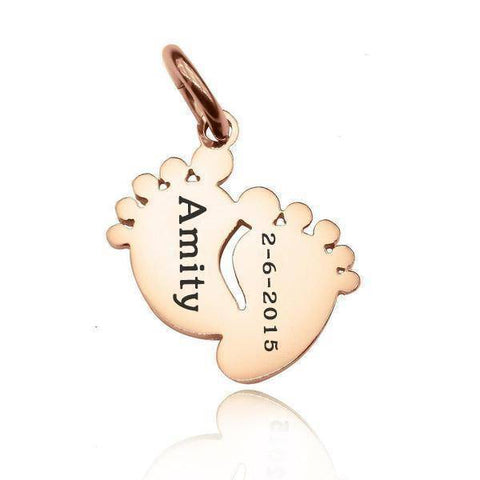 Feet Charm 18mm for Keyrings - Rose Gold Personalized Belle Fever 1