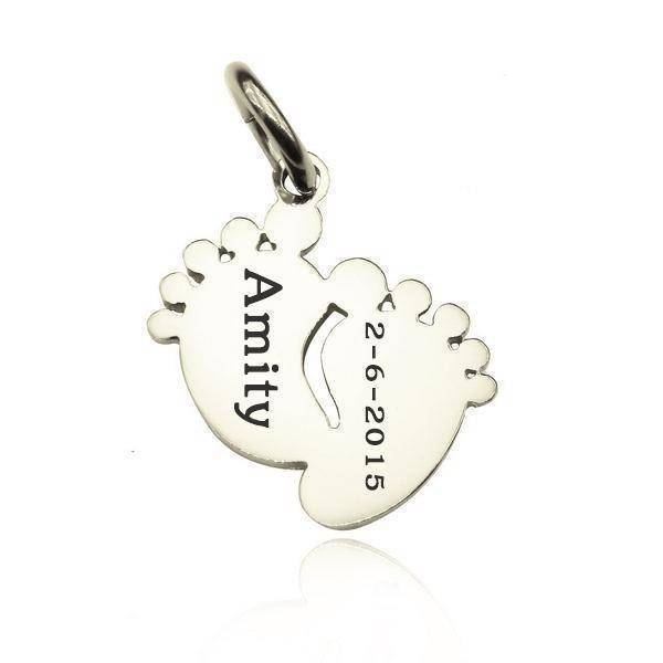Feet Charm 18mm for Keyrings - Silver Personalized Belle Fever 1